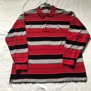 Lacoste red&Black striped long sleeve polo shirt.